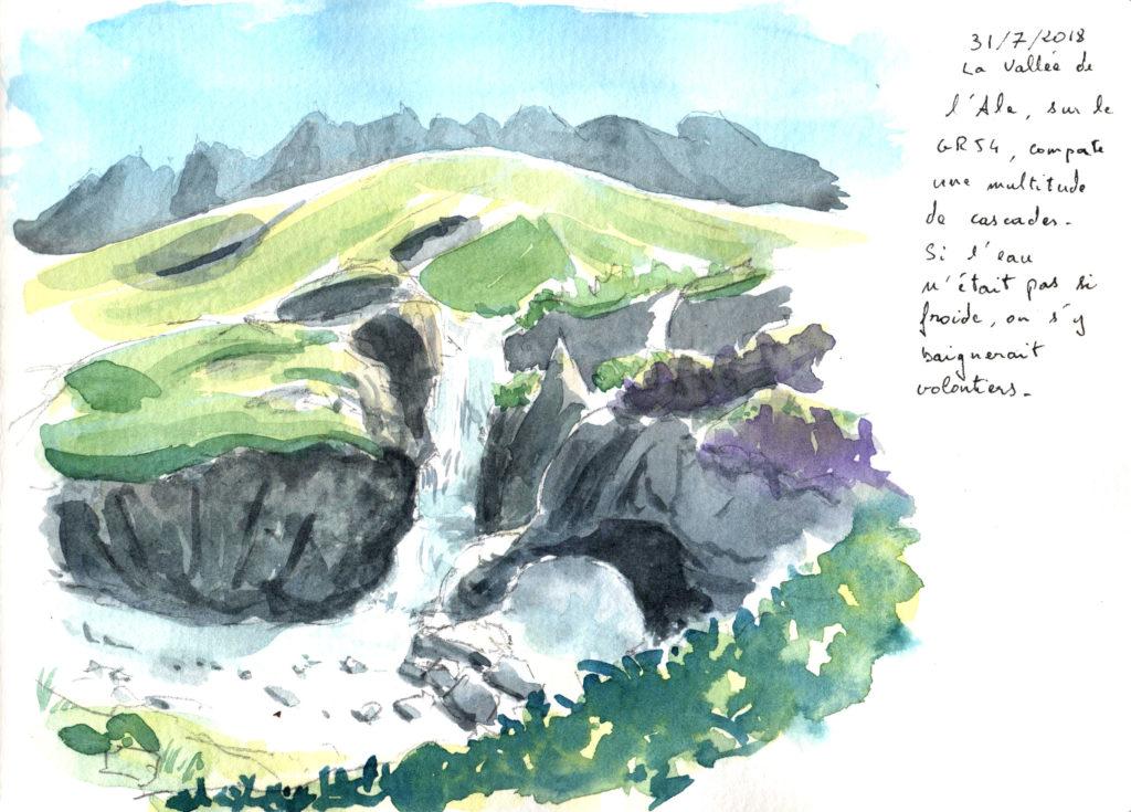 Cascade de l'Alé dans les écrins, aquarelle
