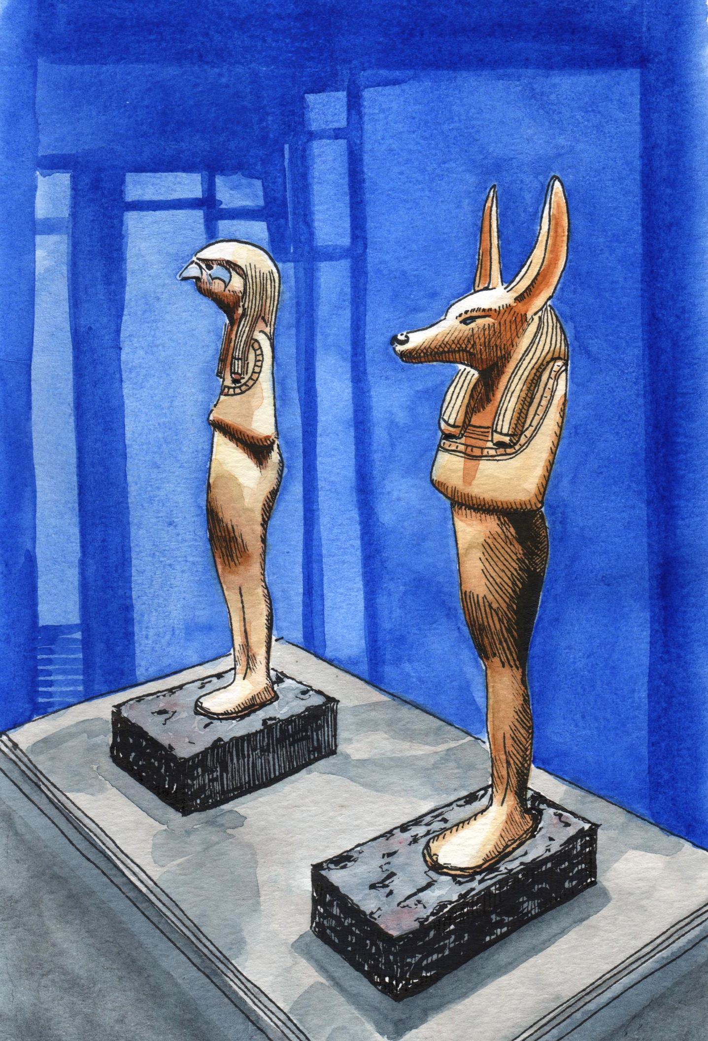 Aquarelle Horus et Anubis