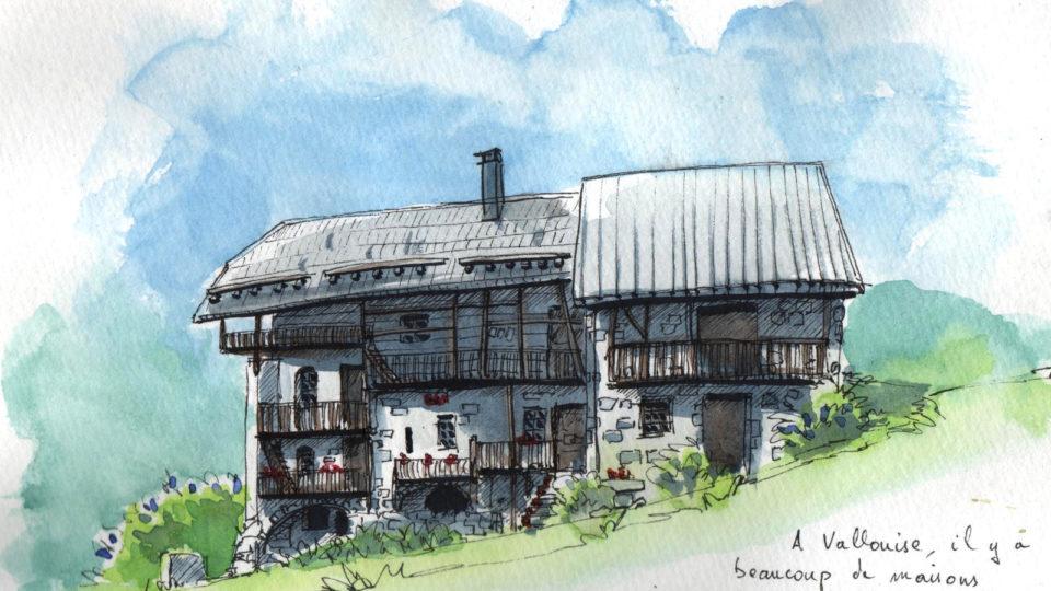 Une maison de Vallouise (feutre et aquarelle)