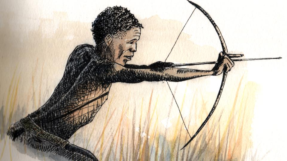 Un bushman à la chasse en aquarelle