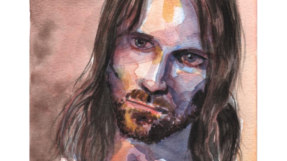 Portrait Aragorn à l'aquarelle (Viggo Mortensen)
